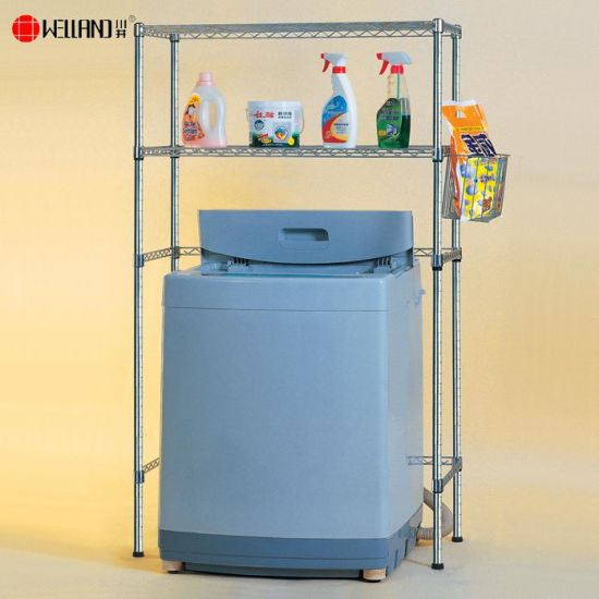 Adjustable DIY Chrome Metal Shelf For Washing Machine Storage Rack