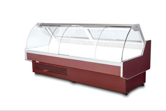 Tempered Swing Glass Service Counter Sliding Door Showcase For Deli