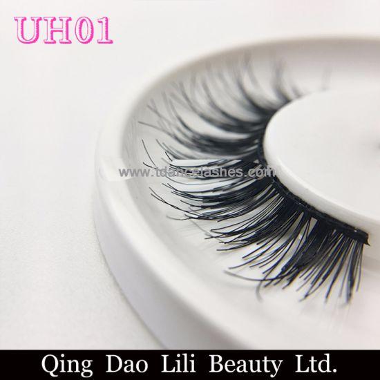 c2c18b2a9a2 Natural False Eyelashes Wispy Style 100% Human Hair Lash Wholesale Custom  Packaging Uh01