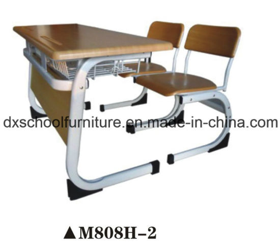 School Furniture Type Wood Student Double Desk Chair pictures & photos