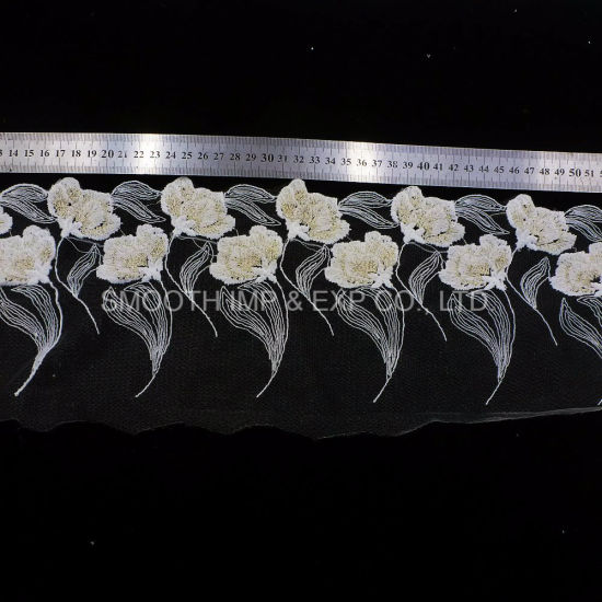 Fashion Garment Accessory Yarn Embroidery Lace Fabric Decoration Wedding Dress pictures & photos