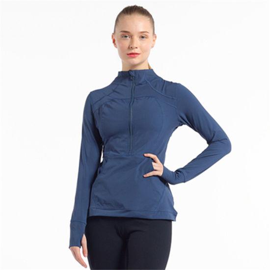 Custom Fitness Breathable Women Casual Outdoor Zipper Fit Slim Sportswear Stand Collar Sweatshirt Jogging