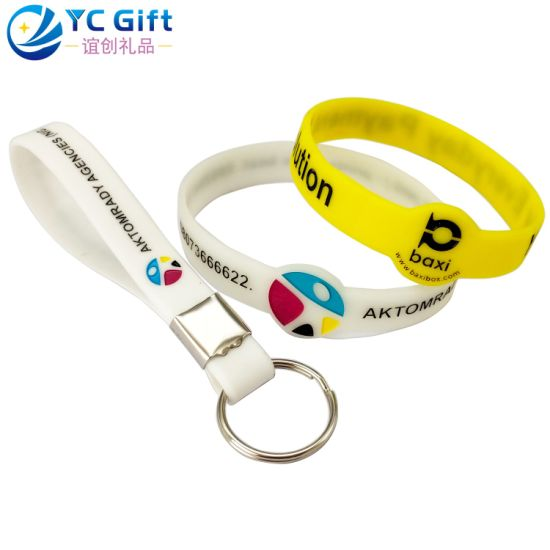 Factory Custom Company Promotional Products Silicone Wristband Key Chain Printing Logo Glow in The Dark Rubber Band Energy Bracelets for Souvenir Promotion Item