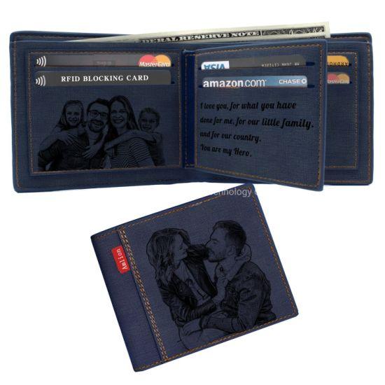 Personalised Engraved Mens Black Leather Wallet Birthday// Wedding Gift Present
