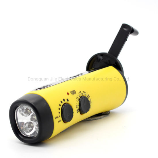 Hand Crank Flashlight Radio Emergency Cell Phone Charger Portable Super Bright 5 LED Built-in Loudspeaker Powered Battery