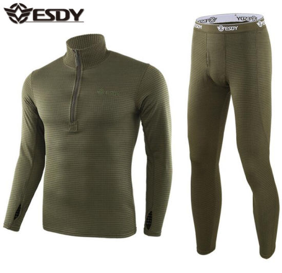 3-Colors Esdy New Style Outdoor Sports Square Fleece Suit Army Military Tactical Training Thermal Underwear pictures & photos