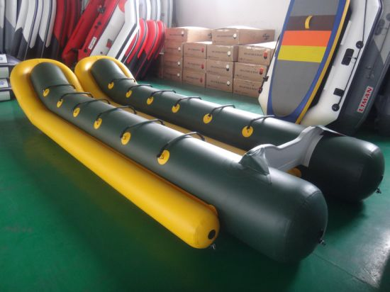 China Yellow Color Blue Color Commercial Water Game Fly Fishing Eight Seats Inflatable Banana Boat For Sale China Water Playing Game Inflatable Banana Boat And Water Toy Single Person Inflatable Banana