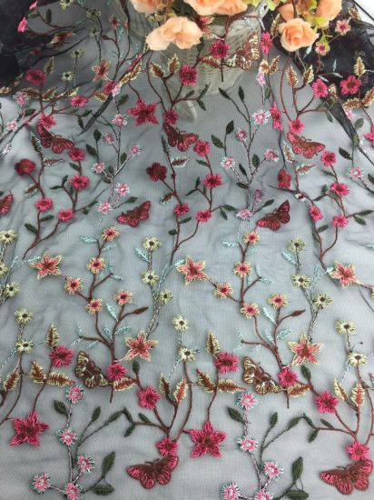 Custom Design Embroidery Mesh Lace Fabric for Dress