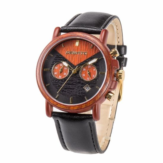 Stainless Steel with Wood 3ATM Water Resistant Wristband Fashion Men Quartz Wrist Watch pictures & photos