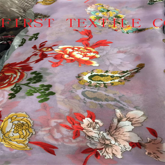 2018 New Design of Floral Burn out Satin Fabric. Burn out Opal Fabric pictures & photos