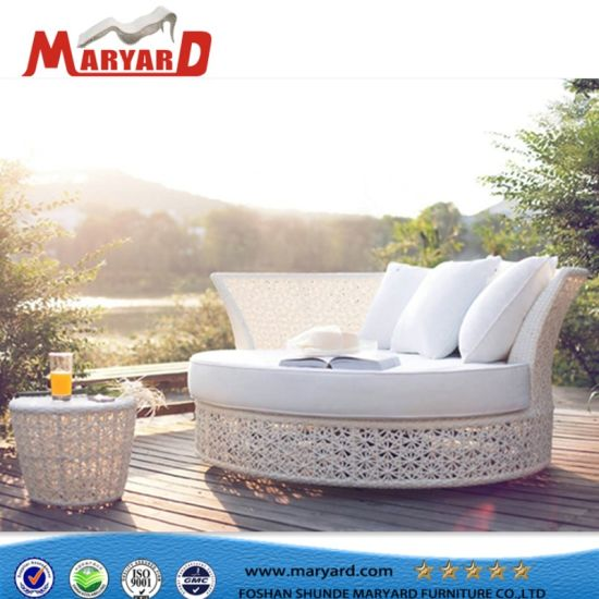 New Outdoor Sofa Daybed Rattan Patio Round Chaise Lounge Sun Bed