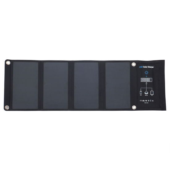 Find24W Folding Solar Charger (Sunpower Solar Cell) with Dual USB for Mobile Phone Charge