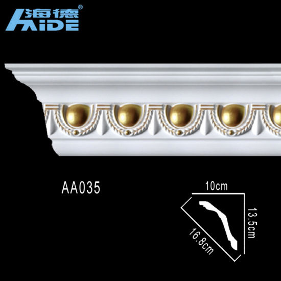 Carved Corner Moldings PU Cornice Moulding Decoration Polyurethane Crown  Molding