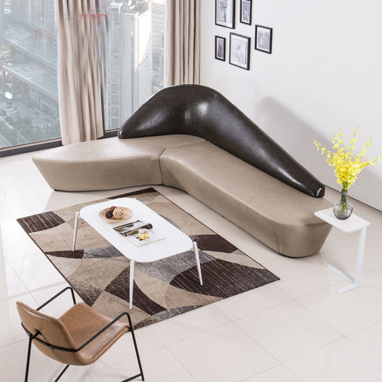 China Pu Type Curved Public Leisure Sofa Seating With L Shape Design