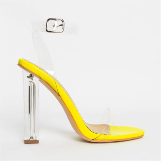 Clear Block High Heels Sandals Perspex Ankle Strap Women Summer PVC Shoes