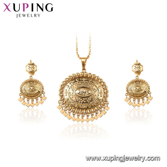 61616 Fashion Gold Plated Square CZ Women′s Jewelry Set pictures & photos