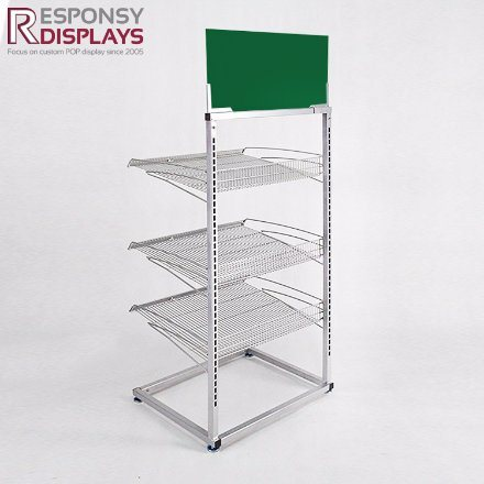 Retail Store Floor Iron Water Rack Metal Beverage Display Stand pictures & photos