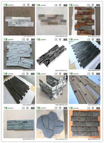White Quartz& Silver White/Grey/Black/Yellow Wooden/Rusty/Culture Stone/Stacked Veneer/Ledger Panel/Slate for Wall Cladding/Roofing Z Shape/S Shape