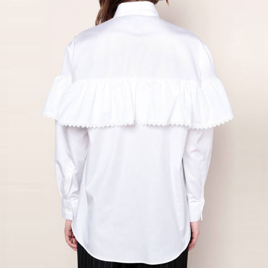 f07dd000bef Vintage Special Design Ruffles Lace White Shirt Blouse Long Sleeve Blouse