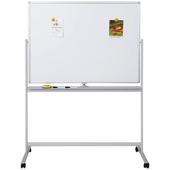 Movable Double Magnetic Whiteboard with 4 Wheels Iron Stand-90*120 Cm