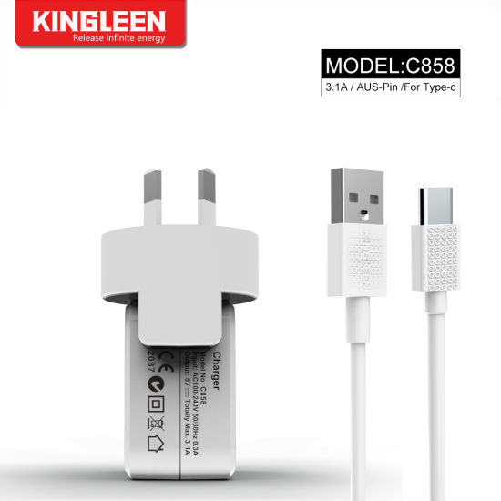 Model C858 Dual USB Port Charger Suit for Type-C Cable
