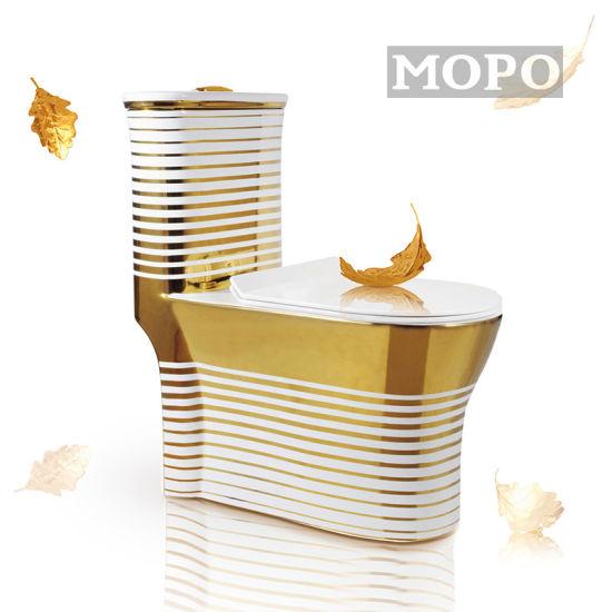 Golden Stripes Exquisite Bathroom Toilet Bowl Toilet Wc