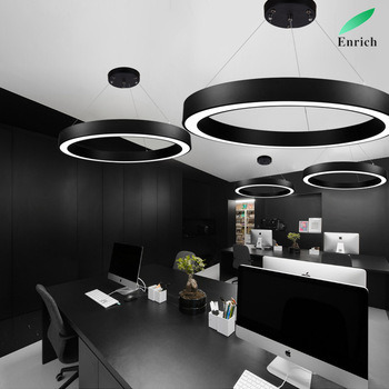 Circular Chandelier Office Lighting Round Hollow Hanging Line Lamp Office Commercial Pendant Lamp Modern LED Office Lighting