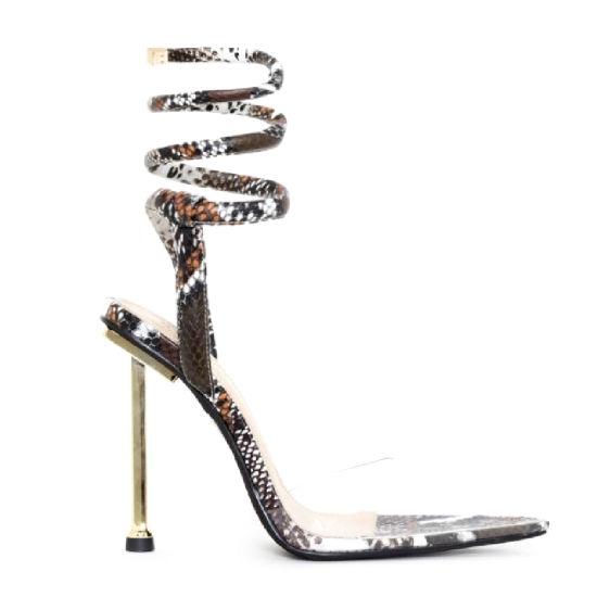 Fashion Women Shoes Straps Ladies Shoes Lady Metal High Heels Women's Lace up Sandals