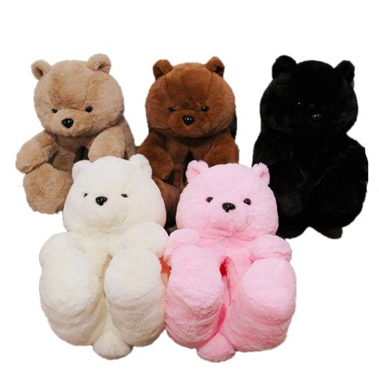 Hot Selling Household Indoor Women Teddy Bear Plush Slipper