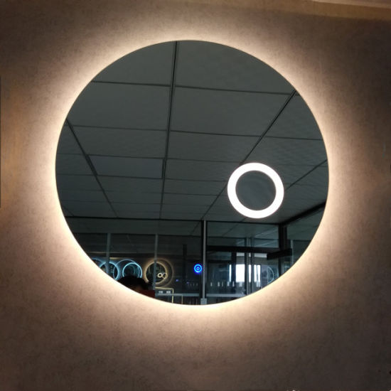 Round Led Bathroom Mirror With Magnifying Glass Mounted On Wall China Led Mirror Led Bathroom Mirror Made In China Com