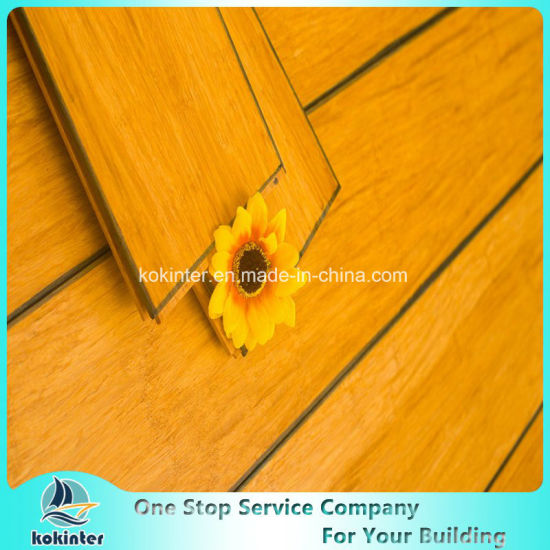 Chinese Cheapest High Quality Indoor Usage Carbonized Strand Woven Bamboo Flooring with Blue Edges