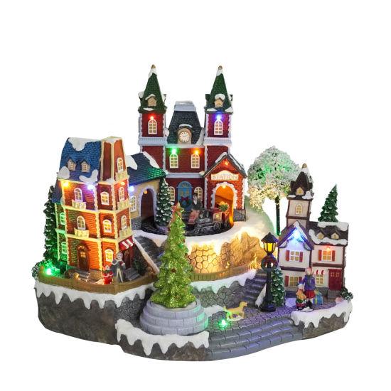 Hot Sell Xmas Themed Train Station Model, Custom Made Seasonal Resin Animated LED Musical Christmas Village