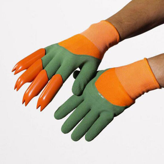 Gardening Gloves, Garden Gloves with Claws Fingertips Claws Safe for Digging and Planting, Waterproof Garden Tool (Claw on Right Hand only, 1 Pair) Esg11986 pictures & photos