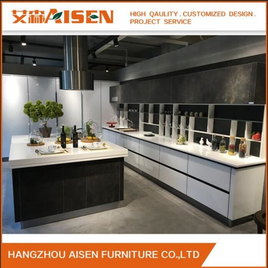 Hangzhou Kitchen Cabinet Factory White Glossy Lacquer/ Glass Doors Modern Design Kitchen Cabinet & China Hangzhou Kitchen Cabinet Factory White Glossy Lacquer/ Glass ...
