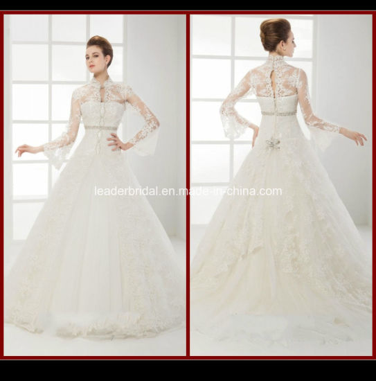China High Neck Long Sleeve Bridal Gown Lace Appliques Ball Gowns ...