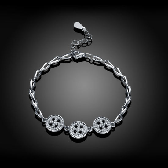 925 Sterling Steel Bracelet Bardian Button Zircon Silver Sterling Fashion Design for Women pictures & photos