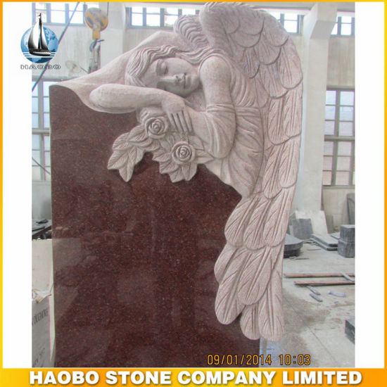 Red Granite Monument with Angel Carved Statues Headstone