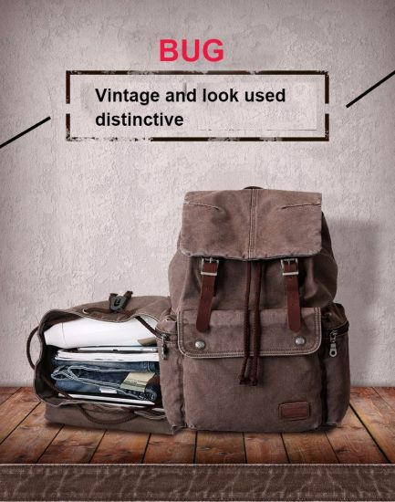 Vintage Look And Use Casual Canvas Travel Backpack Rucksack School Bag Laptop