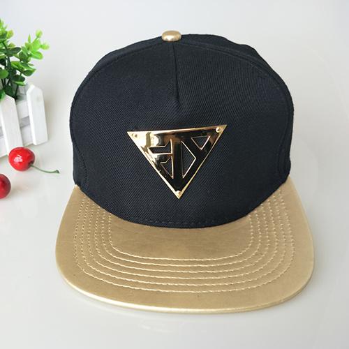983622ca Custom Metal Logo Leisure Leather Cap Black Flat Bill Snapback Hat