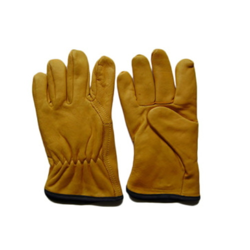 High Quality Industrial Non Slip Golden Leather Gloves pictures & photos