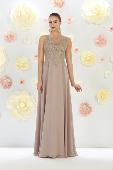 Champagne Lace Mother of The Bride Dress Chiffon Evening Dress B45 pictures & photos