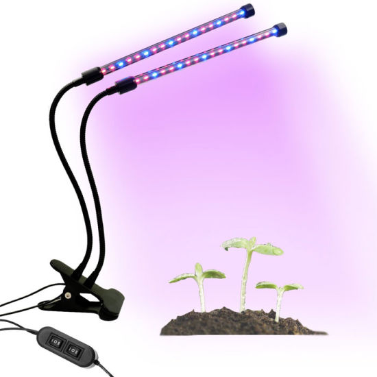 Dual Head Led Grow Lights 360 Degree Flexible18w Clip Desk Lamp With Timming 5 Lever Dimmable