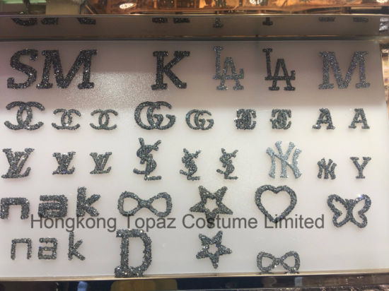 Top Quality Custom Stickers Hotfix Pointback Rhinestone Stickers Iron on Icon Patches (HF-Icon)