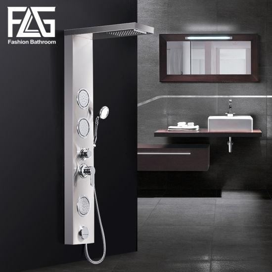Flg Sliver Brushed Nickle Bathroom Waterfall Shower Panel