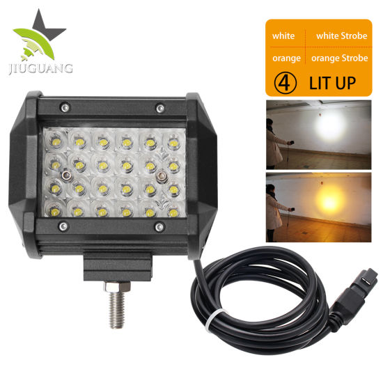 Driving Bar 12V 4.8 Inch Dual Color Yellow Fog Square Auto Mini CREE LED Work Light for Truck