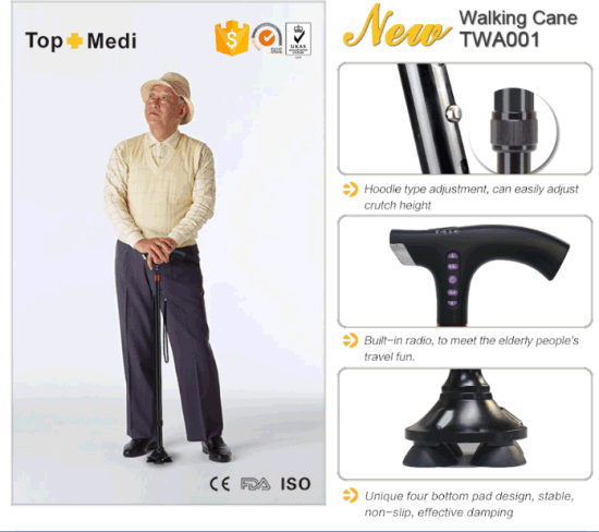 Handicapped Health Care Electric LED Light Intelligent Radio Folding Walking Cane Stick pictures & photos