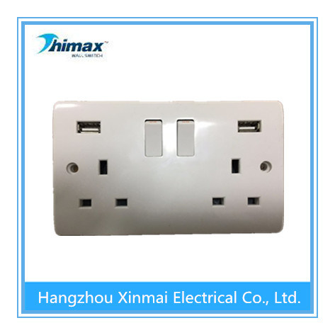 13A 2gang USB Switched Socket with Neon
