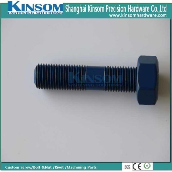 Custom Titaninum Alloy Huge Hex Bolt with Partial Thread Color Coating pictures & photos
