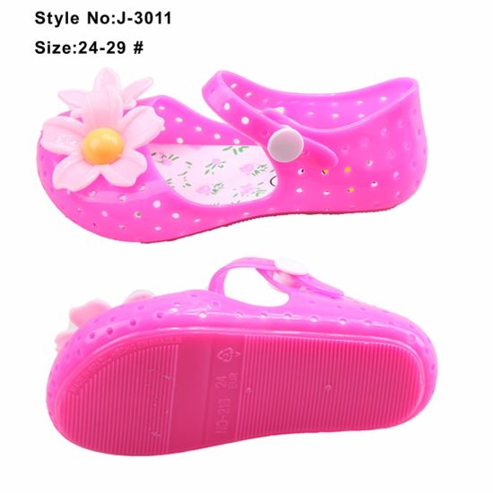 9ac4985febe Lovely Baby Girls PVC Material Jelly Sandals with Jelly Flower Decorations