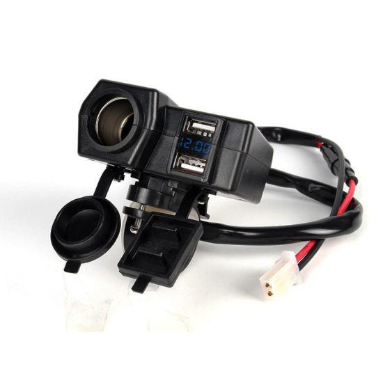 12V/24V Motorcycle Dual USB Charger Power Socket Blue Voltmeter